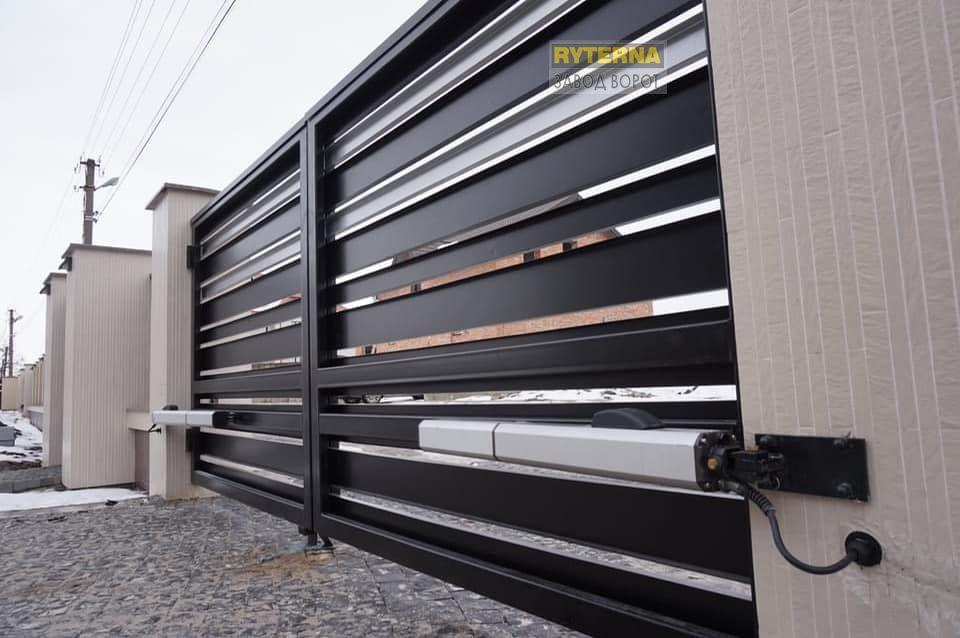 распашные ворота - оцинкованная сталь - установка под ключ