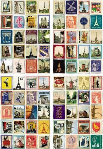 "Наклейки ""Stamps. Paris"""
