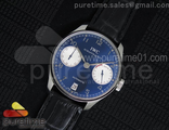 Portuguese Real PR IW5001 YLF Best Edition Blue/White Dial on Black Leather Strap