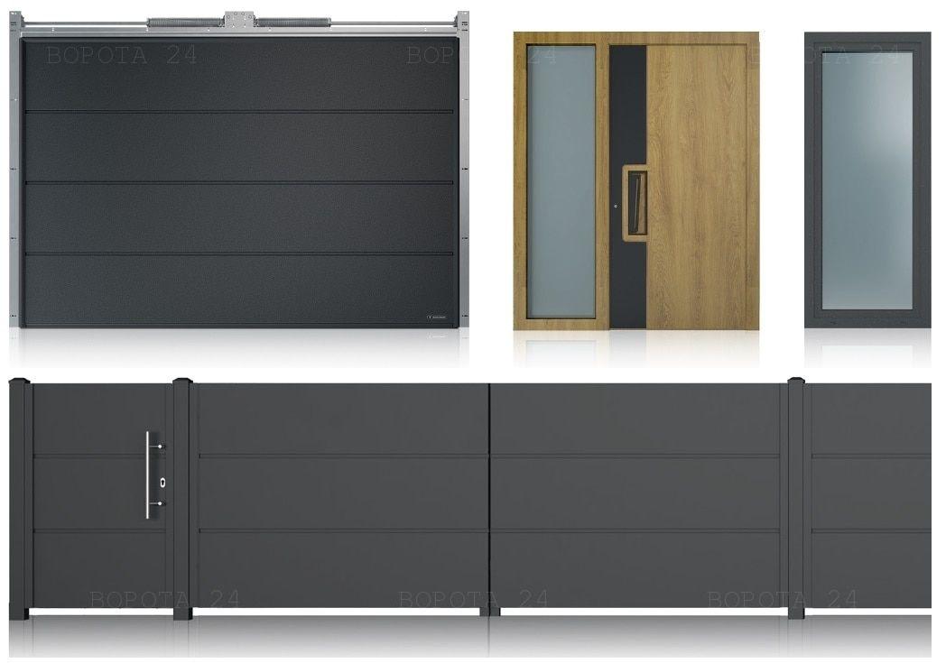 Гаражные ворота и двери наружные для дома - Уличные въездные откатные системы - заборы