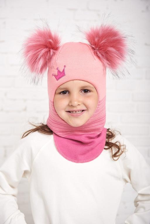 Арт.739 Шлем зимний для девочек с искусственными помпонами