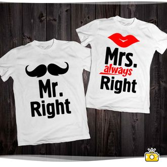 "Парные футболки ""Mr. Right and Mrs. always Right"" 032"