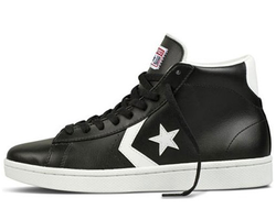 converse all star leather black and white with a star 01