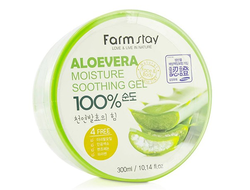 100% гель алое вера Farm Stay Moisture Soothing Gel Aloe Vera,Корея,300мл