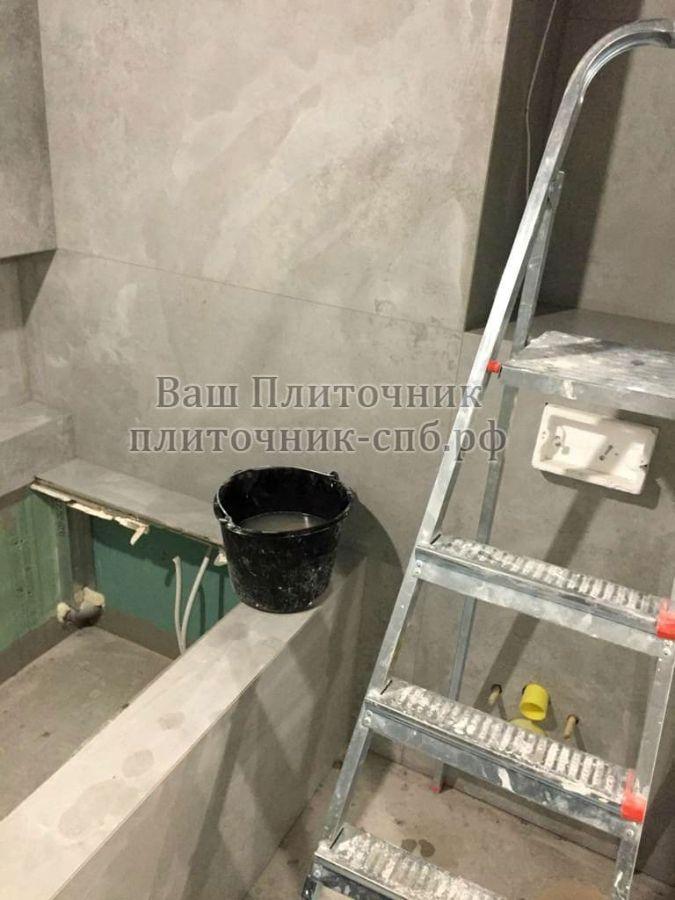Укладка широкоформатного керамогранита в ванной