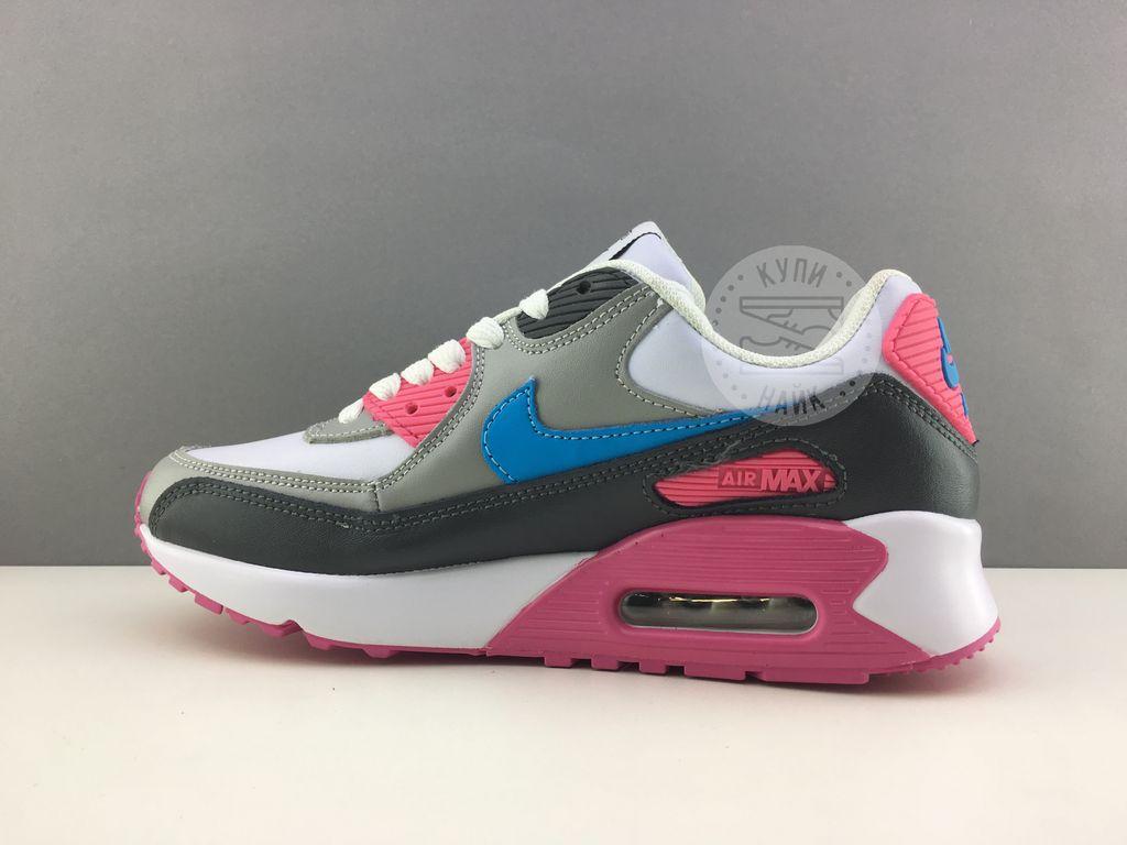 c50be4e1 Купить кроссовки Nike Air Max 90 Серые с розовым кожа (распродажа ...