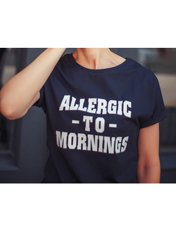 "Футболка ""ALLERGIC TO MORNINGS"" (темно-синяя)"