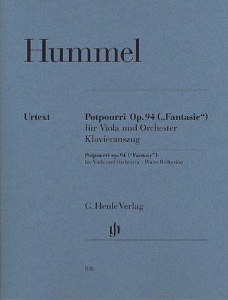 Hummel J.N.  Potpourri (Fantasy) op. 94 for Viola and Orchestra (Piano Reduction)