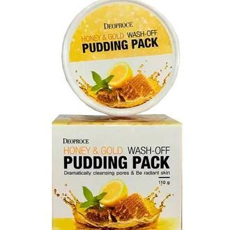 Маска для лица с медом и золотом DEOPROCE HONEY&GOLD WASH-OFF PUDDING PACK 110гр