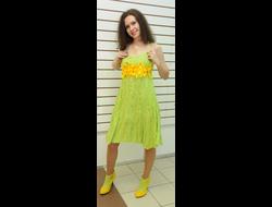 8058166e03d87ba Платье из зеленого льна с вышивкой Наталья Гайдаржи АРТ - ПВЗ10014/НА ЗАКАЗ