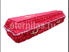 Гроб деревянный с тканевой отделкой гофре атлас красный