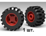 Wheel 11mm D. x 12mm, Hole Notched for Wheels Holder Pin with Black Tire Offset Tread Small Wide, Band Around Center of Tread 6014b / 87697, Red (6014bc05)