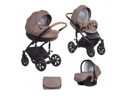 Универсальная коляска Tutis Zippy MIMI Style (3 в 1) Цвет Бежевый лен/кожа коричневая