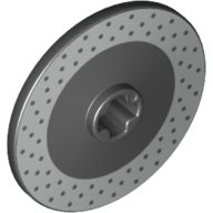 Technic, Disk 3 x 3 with Disk Brake Silver Drilled Rotor Pattern, Black (2958pb063 / 6191951)