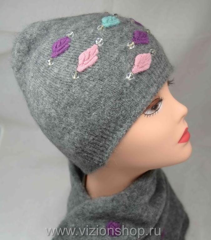 шапка женская с цветными розочками и шарф италия Vizio 5174 серый
