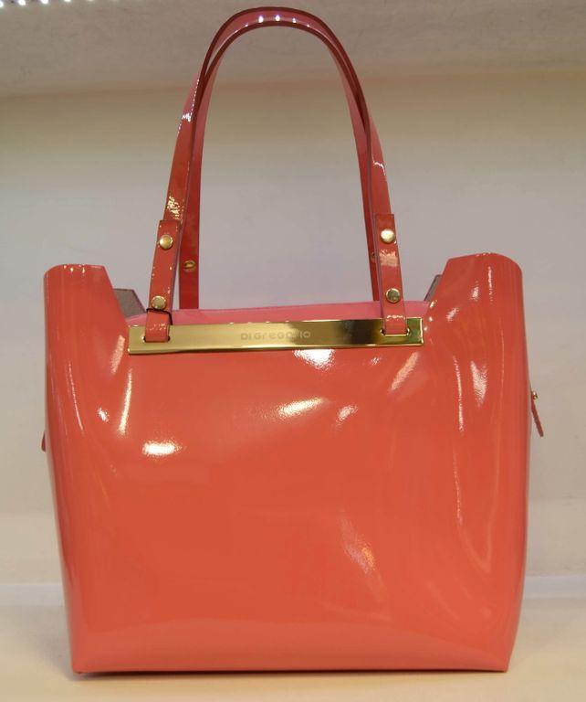 55551c438ecd коралловая сумка Di gregorio 1000 италия лакированная женская от  итальянского бренда стильных женских сумок Ди Грегорио