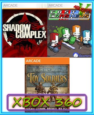 Toy Soldiers,Castle Crashers,Shadow Complex(XBOX 360)