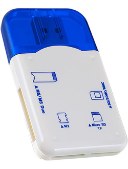 Картридер Perfeo Card Reader SD/MMC+Micro SD+MS+M2 (PF-VI-R010-Blue)