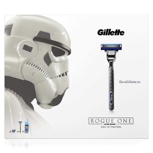 Подарочный набор Gillette Mach3 Turbo в дизайне Изгой-Один: Звёздные войны: Бритва + 2 кассеты + гель для бритья