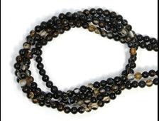 Бусины Агат черный глазковый, шар 3 мм, цена за 1 нить около 40 см, 130 шт. (вес 5 г) №20271
