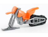 Snowmobile with Flat Silver Chassis, Orange (50860c09)