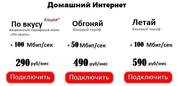 Тарифы ТТК в Томске на домашний Интернет