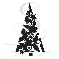 графичная треугольная новогодняя елка , штамп