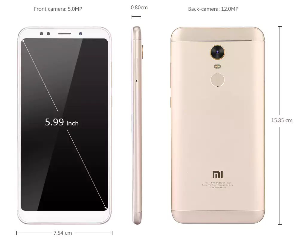 Размеры Xiaomi Redmi 5 Plus