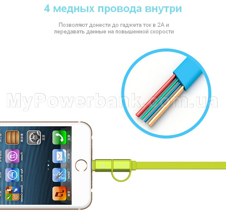 Кабель PINENG PN-304 Lightning Micro-USB