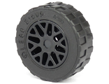 Wheel 11mm D. x 6mm with 8 Y Spokes with Black Tire 17.5mm D. x 6mm with Shallow Staggered Treads - Band Around Center of Tread 93595 / 92409  , Black (93595c02)