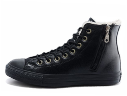 converse all star chuck taylor hi winter leather black monochrome zipper 01