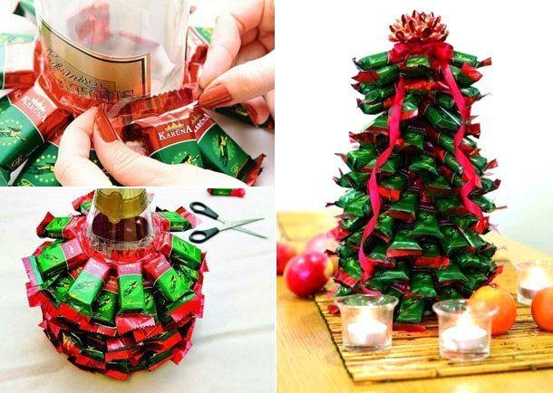 фотография мастер классы новогодних елок из конфет