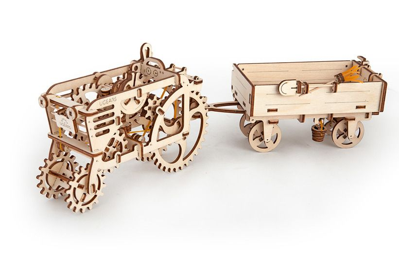 3D пазл Ugears Прицеп к трактору