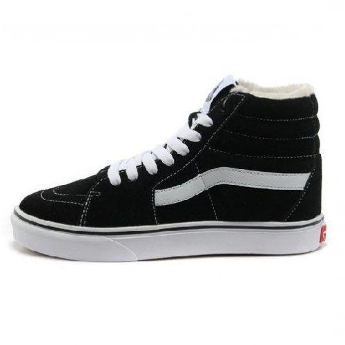 Высокие кеды Vans SK8-HI FLEECE черно-белые замшевые 31b481be991