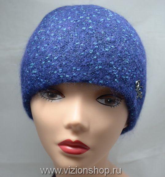 синяя вязаная шапка из мохера визио Vizio 5119 италия купить в