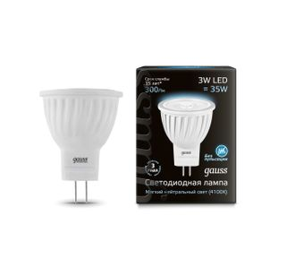 Gauss LED MR11 3w 840 GU4