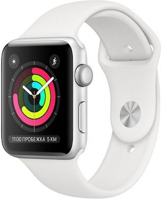 APPLE WATCH SERIES 3 42MM SILVER ALUMINIUM WITH WHITE SPORT BAND
