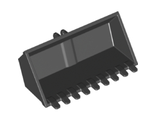 Vehicle, Digger Bucket 9 Teeth 4 x 8, Rise Inside with Locking 2 Finger Hinge, Black (65380 / 6311434)