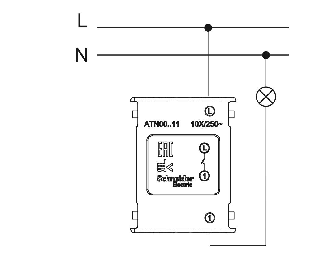 схема подключения одноклавишного выключателя Schneider Electric серии Atlas Design