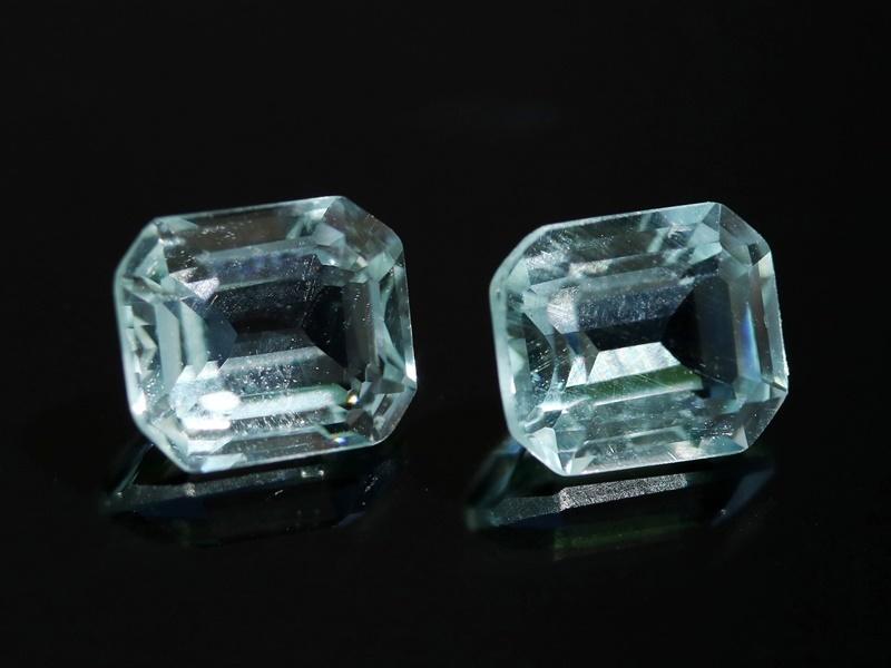 85d2a47dfc3c Аквамарин - Комплект, огранка Аквамарин (2 шт.), прямоугольник (6,5 5,5 3,7  мм  1 карат   0,2 г) №6557
