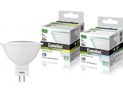 Camelion MR16 GU5.3 12V 5W(370lm 100°) 3000K 2K матов. 49x50 пластик LED5-MR16/830/GU5.3