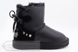 Угги UGG Australia Mini Bailey Bow Metallic Black женские арт. U80 сзади
