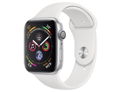 Apple Watch Series 4 44mm Aluminum Case with Sport Band (Серебристый/Белый)