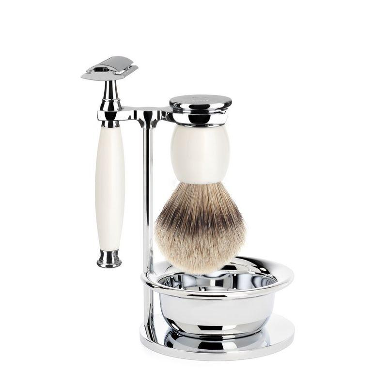 Бритвенный набор Muehle Sophist, фарфор, барсучий ворс высшей категории Silvertip, Т-образная бритва, чаша