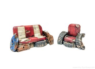 Junk sofa and armchair (PAINTED)