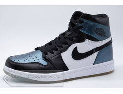 Кроссовки Air Jordan 1 Mid Black/White/Metallic Blue мужские арт. N749