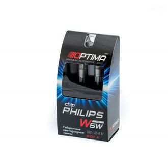 Светодиодная лампа W5W (T10) Optima Premium PHILIPS Chip 2, 5100K, 12V