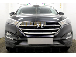 Защита радиатора Hyundai Tucson 2015-2018 chrome низ