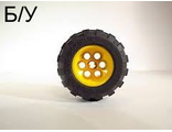 ! Б/У - Wheel 36.8mm D. x 26mm VR with Axle Hole, with Black Tire 56 x 30 R Balloon 6595 / 32180, Yellow (6595c01) - Б/У