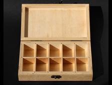 """Коробка """"Шкала Мооса"""" 10 ячеек, для набора минералов, цвет натуральный/клен/палисандр (21*12,4*4,5 см, около 250 г) №17240"""